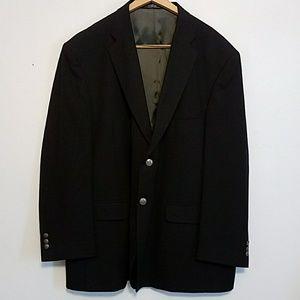 Dark navy Stafford 50R crest button sports coat